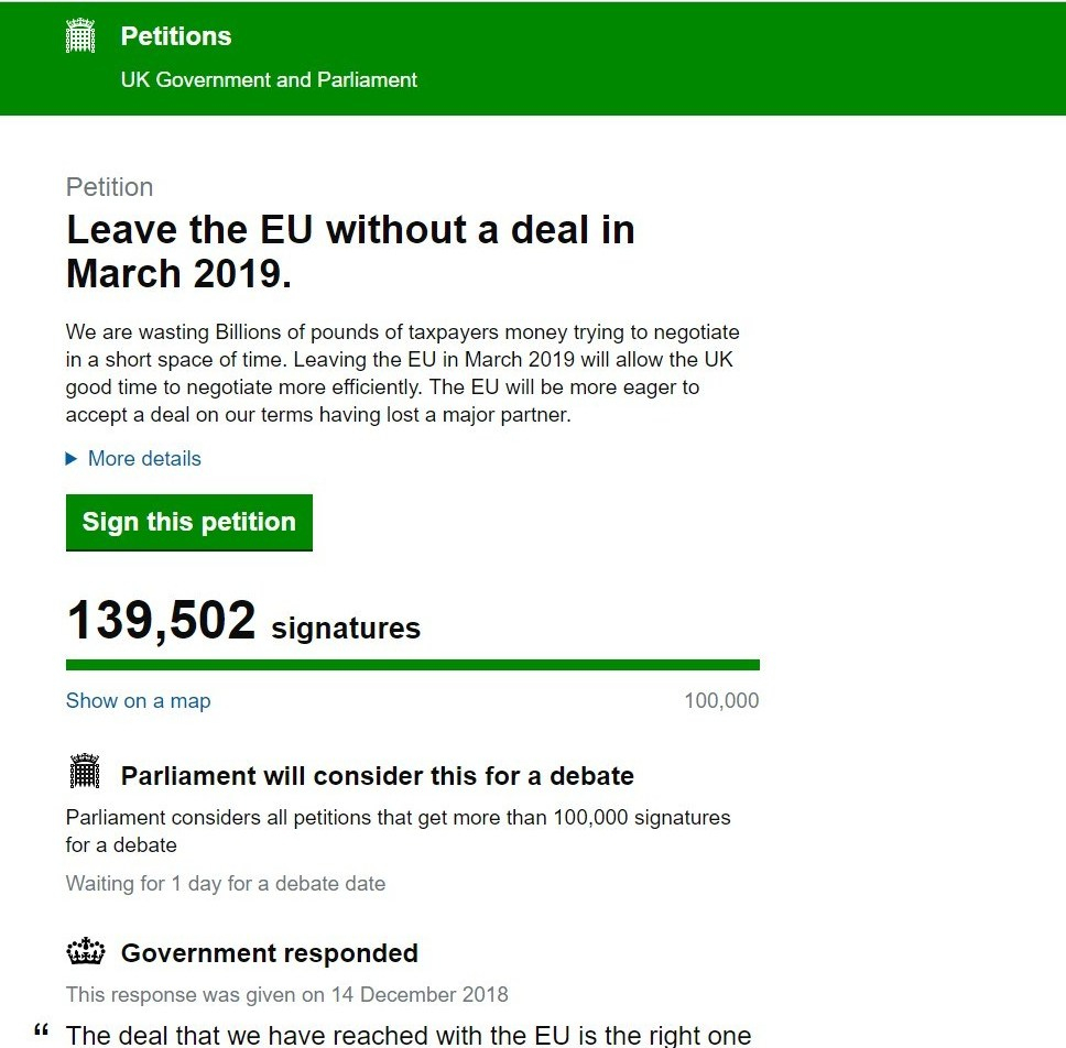 NO DEAL PETITION